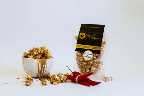Royal Popcorn with Caramel and Black and Chilli Peppers