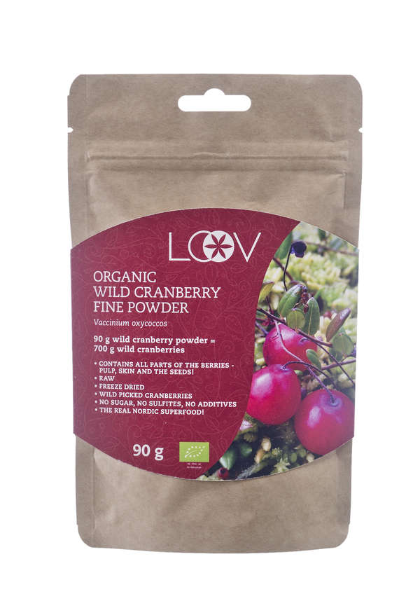 Freeze-dried organic wild cranberry fine powder