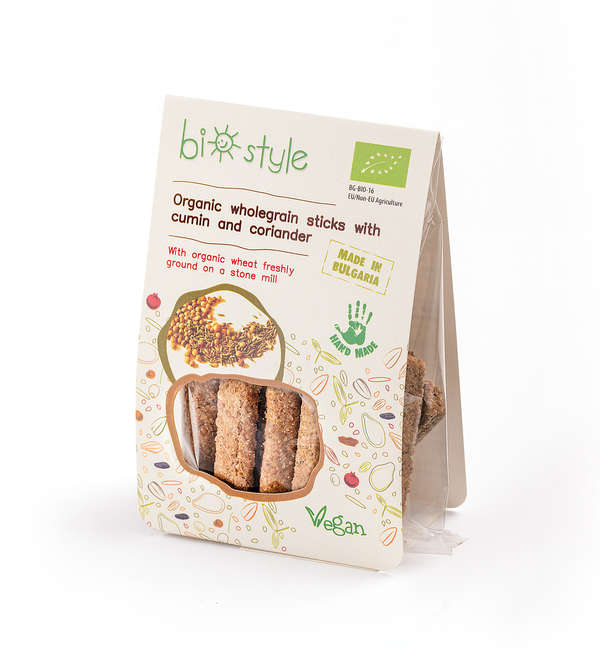Organic wholegrain sticks with cumin and coriander