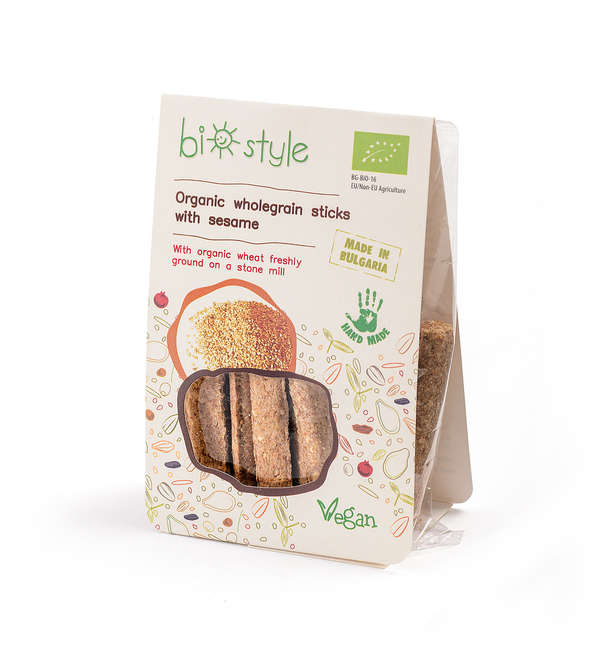 Organic wholegrain sticks with sesame