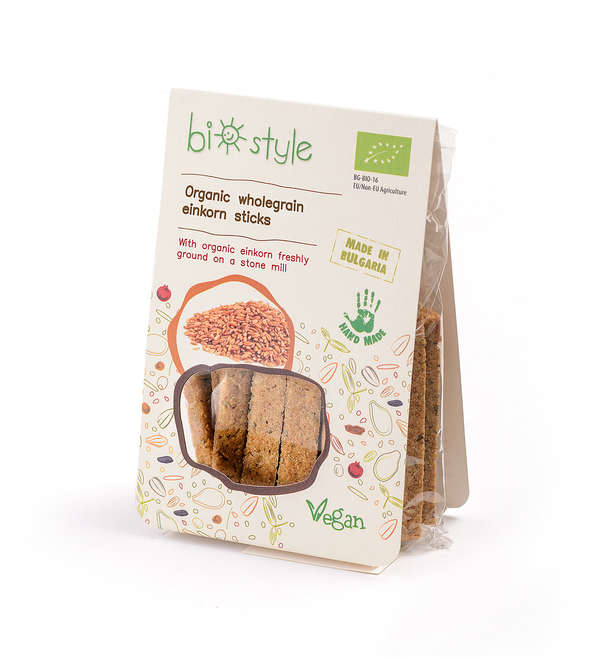 Organic wholegrain einkorn sticks