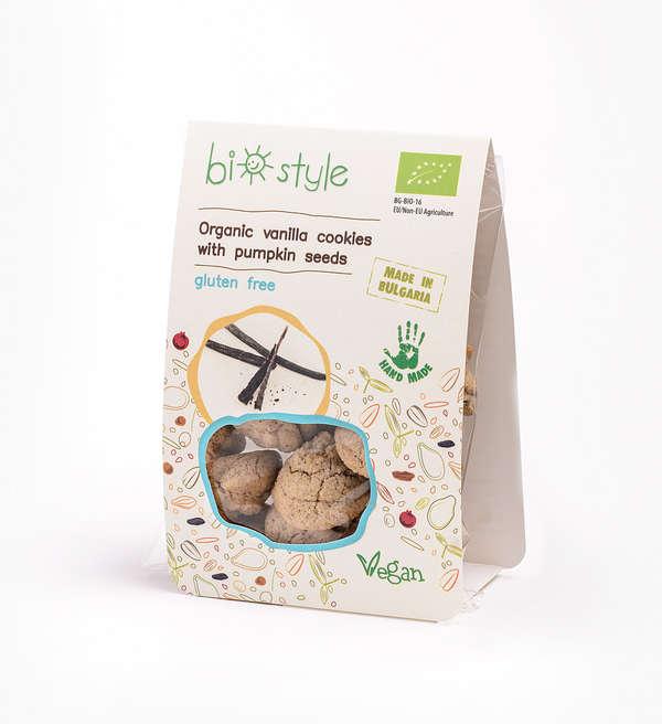 Organic vanilla cookies with pumpkin seeds - gluten free