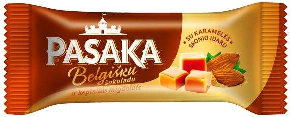 """Curd cheese """"PASAKA"""" with chocolate filling and roasted almonds, 23.2% fat."""