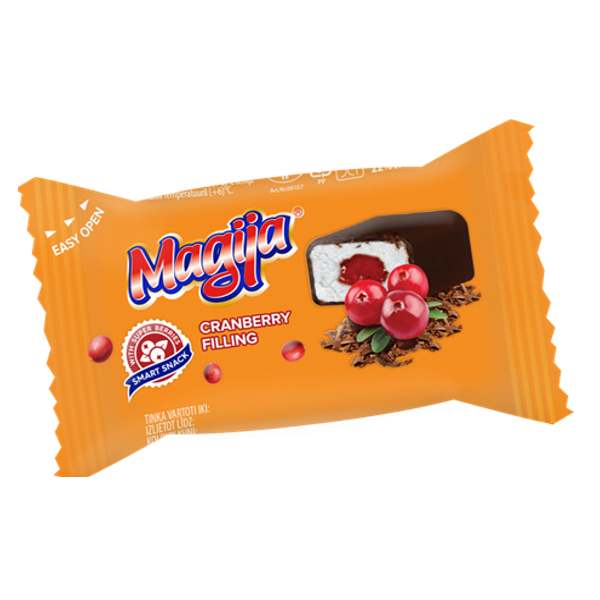 "Glazed curd cheese ""Magija"" Smart snack cranberry filling 21,1% 45g"