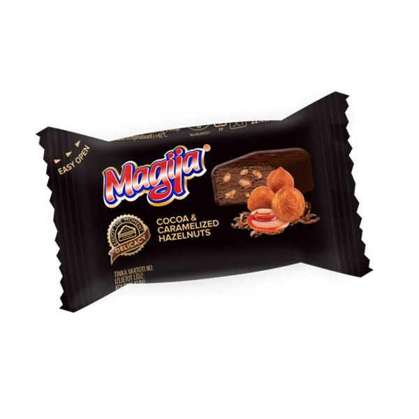 "Glazed curd cheese ""Magija"" Delicacy cocoa & caramelized hazelnuts 24% 45g"