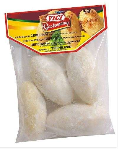 Grated potato dumplings, with meat, 500 g