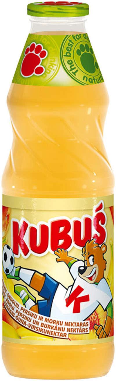 0.9L banana-apple-peach juice in glass KUBUŠ