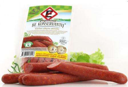 Hot smoked sausages Be E 300 g in plastic bag