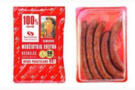 """Hot smoked sausages """"Samsono medžiotojų Ekstra"""" 200g"""
