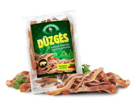 "Hot smoked pork ears ""Dūzgės""  (m.a.200g) KG"