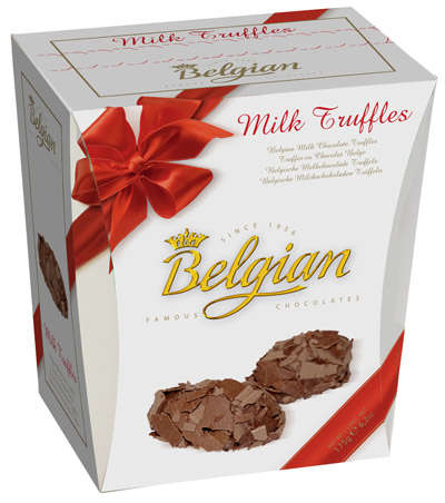 145g truffles with a milky truffle filling BELGIAN