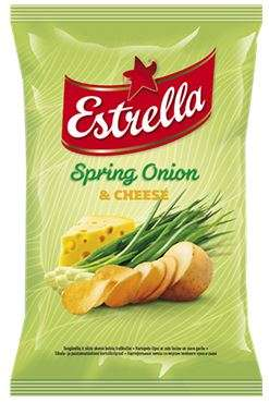 Chips ESTRELLA, juicy onions and cheese flavour, 150 g