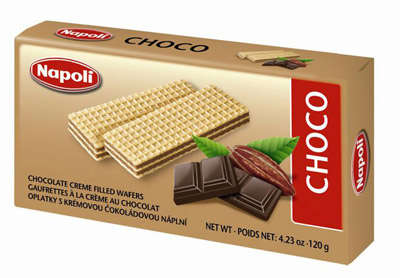 120g chocolate-flavored wafers with cream filling Napoli