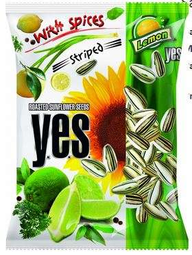 """Y.E.S."" sunflower seeds roasted with spices (striped) ""Lemon"" 50g"