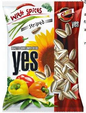 """Y.E.S."" sunflower seeds roasted with spices (striped) ""Chilli"" 150g"