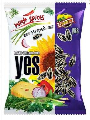 Roasted sunflower seeds Y.E.S. with spices (cheese flavour) 150 g (striped)