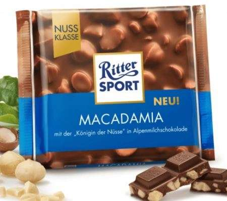 RITTER SPORT milk chocolate with crushed and whole macadamia nuts, 100g