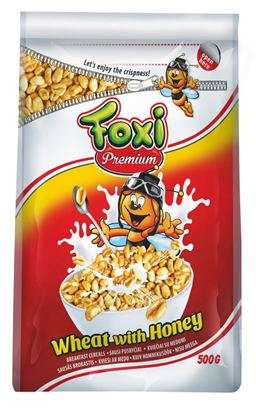 PREMIUM puffed wheat with honey FOXI 500 g (pack with zipper)