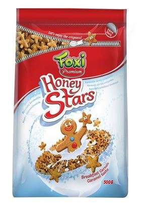 PREMIUM Breakfast cereal Foxi Honey Stars 500g  (pack with zipper)