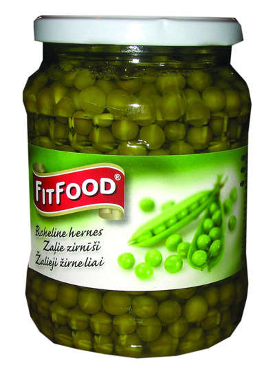 FIT FOOD green peas 690g in glass