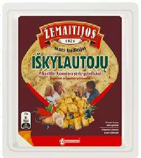 "Cheddar cheese pieces with spices ""Iškylautojų"" 50%, packed 180g"