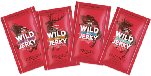 Wild jerky dried meat snacks, moose, deer, wild-boar and beef