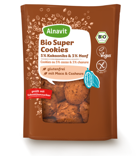 Organic Super Cookies with cocoa & hemp