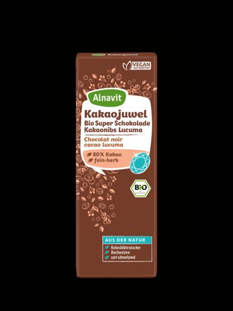 Organic dark chocolate with cacao nibs & lucuma