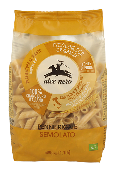 Organic low-grade durum wheat semolina penne rigate - 500g