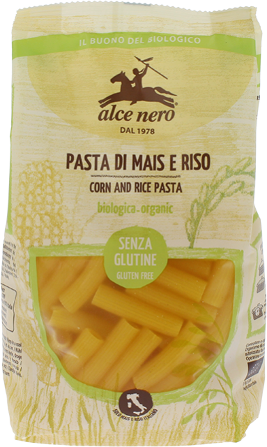Organic corn and rice rigatoni - 250g