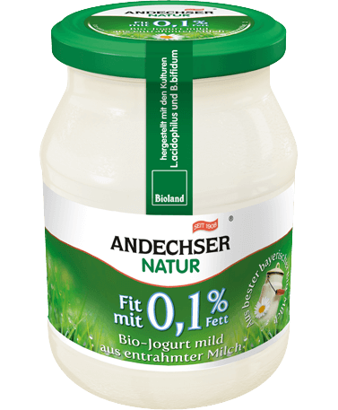 Mild organic yogurt made of skimmed milk 0.1% fat 500g