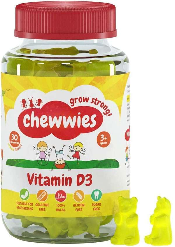 Chewwies Vitamin D - Chewable D3 Vegan Gummies- Gelatin Free, Sugar Free, Halal & Gluten Free, Non-GMO - for Adults and Children to Support Healthy Growth and Development (30 Day Supply)